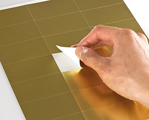 """Shiny Gold Foil 2.83"""" x 1.5"""" Rectangle Labels for Laser Printers with Downloadable Template and Printing Instructions, 5 Sheet, 105 Labels (GF28)"""