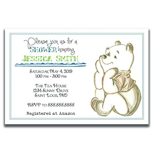 Customized Classic Winnie The Pooh Baby Shower Invitation (Pooh Bear Birthday Invites)