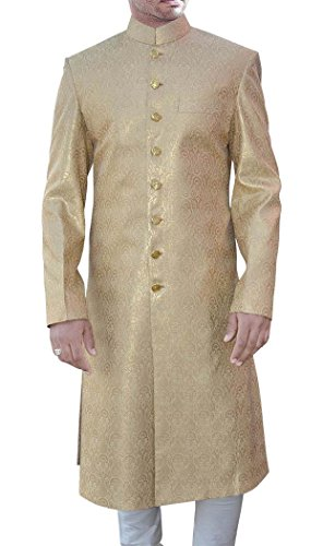 INMONARCH Mens Golden Brocade 2 Pc Sherwani Wedding SH439S54 54 Short Golden by INMONARCH