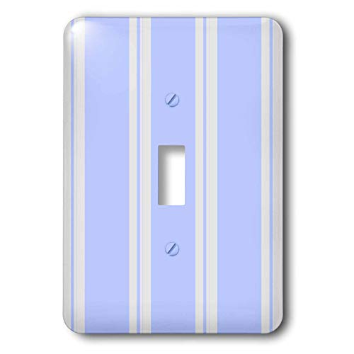 3dRose 777images Designs Patterns - Muted blue and white stripes as on vintage mattress ticking. - Light Switch Covers - single toggle switch (lsp_114215_1)