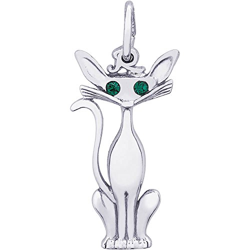 - Rembrandt Charms Sterling Silver Siamese Cat with Green Eyes Charm (24 x 11 mm)