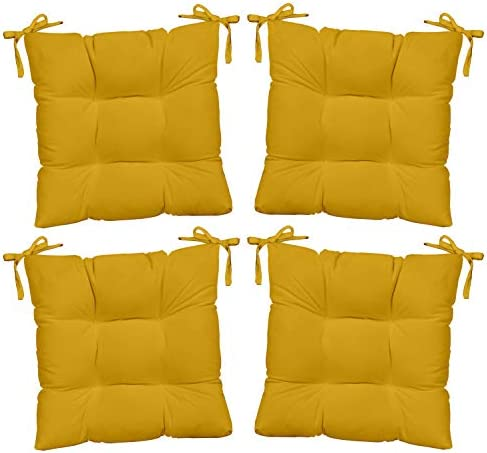 Resort Spa Home Decor Set of 4 – Indoor Outdoor Solid Yellow Universal Tufted Seat Cushions with Ties for Dining Patio Chairs – Choose Size 21 x 20