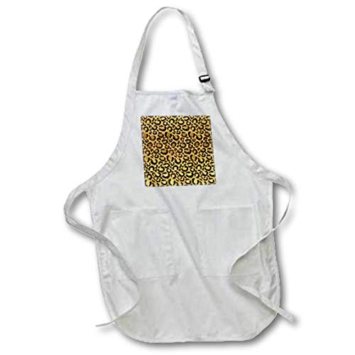 3dRose Uta Naumann Faux Glitter Pattern - Image of Trendy Girly Chic Gold and Black Leopard Fur - Full Length Apron with Pockets 22w x 30l -