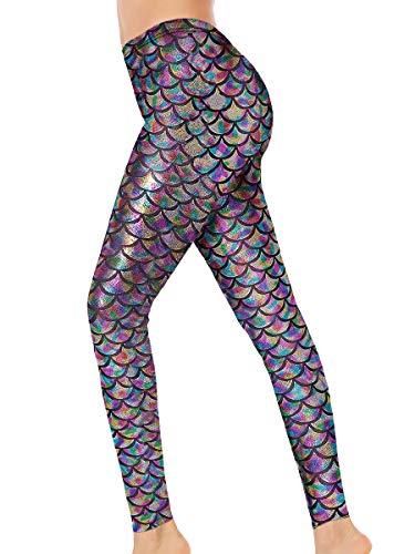 Alaroo Women Bling Mermaid Print Scale Leggings Pants Rainbow -