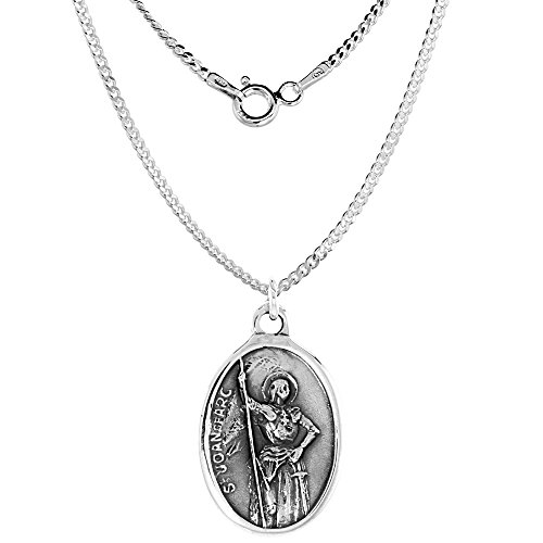 Sterling Silver St Joan of Arc Medal Oval 1 inch -