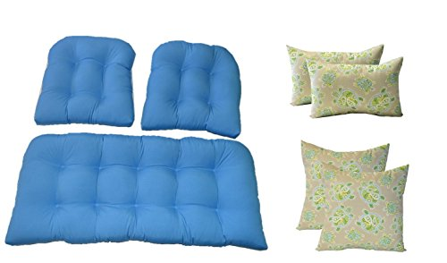 Resort Spa Home Wicker Cushions and Pillows 7 Pc Set - Made with Solid Pool Blue Cushions and Tommy Bahama Tranquil Turtles Jungle - Blue, Tan, Green Pillows - Indoor/Outdoor Fabric