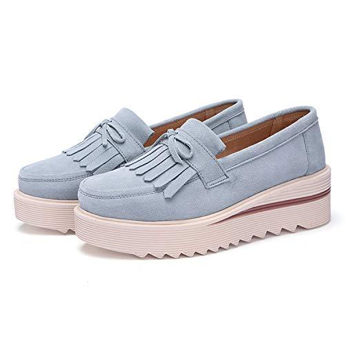 Verano De 5 Zapatos Tqgold Otoño 5cm Claro Primavera Mocasines Mujer Loafers Casual Azul Plataforma Cuña RznCPqHwCY