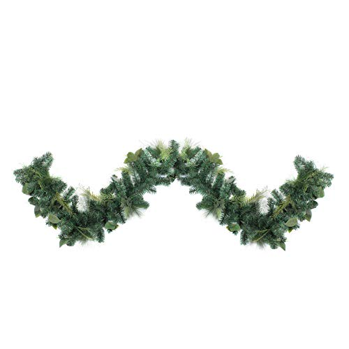 (Northlight 9' Assorted Green Foliage and Needle Branch Christmas Garland - Unlit,)