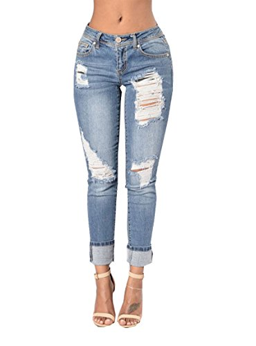 Tuesdays2 Women Casual Denim Destroyed Stretchy Ripped Skinny Jeans (Color 2, S)