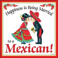 Essence of Europe Gifts E.H.G Happiness is Being Married to a Mexican Regalos para Mama Ceramic Spanish Decorative Wall Tile Latino & Hispanic Gift