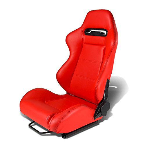 Type-R Style Red Faux Leather Reclinable Sport Racing Seat With Red Stitch (Left) - Track Style Leather