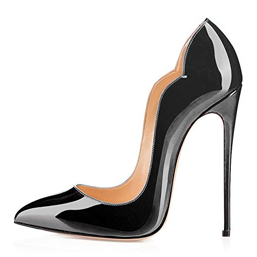 Modemoven Stiletto High Heels,Damenschuhe Pumps,Lack Pumps,Hochzeitsschuhe Damen Schwarz