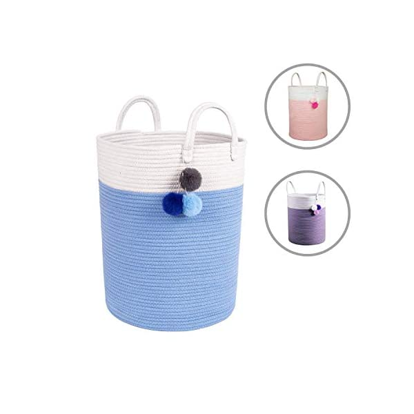 Solaya Tall Blue Storage Basket for Nursery 16″x20″ – Woven Decorative Basket Large Natural Cotton Rope Basket w Handles – Baby Storage Laundry Hamper, Clothes, Diapers, Kids Toys, Towels, Blankets