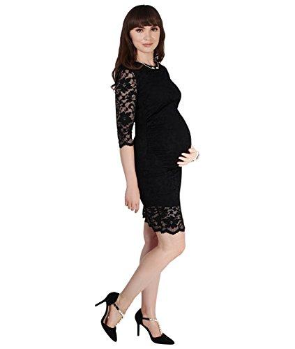 KRISP Vestido Premamá Fiesta Boda Embarazada Encaje Moderna Verano 2017 Negro