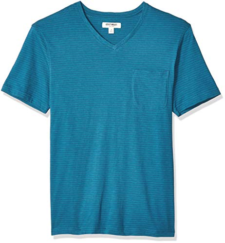 (Goodthreads Men's Short-Sleeve Striped Slub V-Neck Pocket T-Shirt, Teal, X-Large)