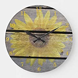 EnjoyHome Rustic Sunflower On Wood Wall Clocks Large Decorative Country Style Wood Hanging Wall Plaque Art Clock 16 inches