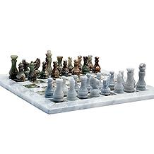 RADICAL Handmade White and Green Onyx Marble Full Chess Game Original Marble Chess Set