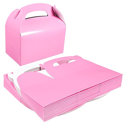 Pack of 24 Paper Treat Boxes - Gable Favor Boxes - Fun Party Play Goodie Boxes - 2 Dozen Pastel Pink Birthday Party Shower Loot Gift Boxes - 24 Count -
