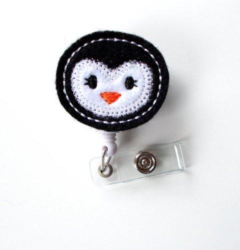 Percy the Penguin - Retractable ID Badge Reel - Name Badge Holder - Cute Badge Reel - Nurse Badge Holder - Nursing Badge Clip - Felt Badge