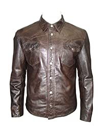 Men's Retro Trucker Style Casual Brown Leather Shirt Style Denim Jacket