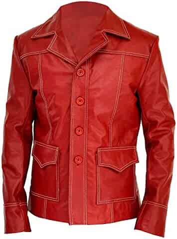 5110b1e86a Mens Fight Brando Club Designer Brad Red Biker Faux Leather Pitt Jacket Coat