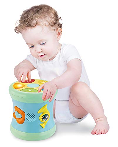 Kidsnob Kids Drum Musical Toy 12 Songs 16 Melodies Colorful Lights .