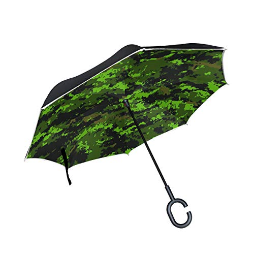 NICEOK Double Layer Inverted Army Jungle Camouflage Umbrella Cars Reverse Windproof Rain Umbrella for Car Outdoor with C Shaped Handle by NICEOK