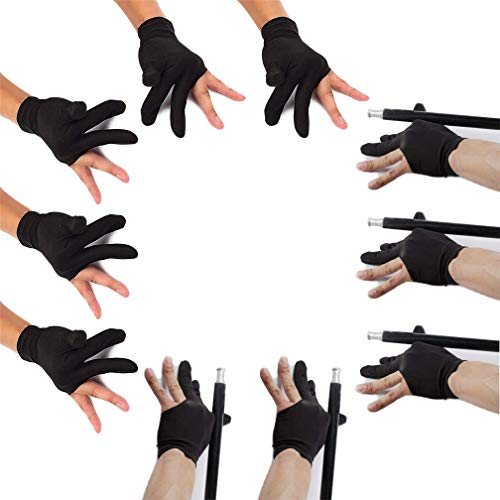 Billiard Glove Elastic Lycra 3 Fingers Show Gloves with Billiard Shooters Carom Pool Snooker Cue Sport - Professional Spandex Wear on The Right or Left Hand for Men & Women(5 Pair Black)
