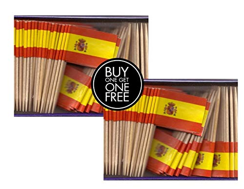 2 Boxes Mini Spain Toothpick Flags, BOGO Buy 1 Box of 100 and Get Another Box Free, Total 200 Small Mini Spanish Flag Cupcake Toothpicks or Tiny Cocktail Sticks & Picks ()