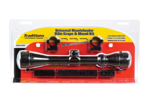 Price comparison product image Traditions Performance Firearms Muzzleloader Hunter Series Clam Pack Universal Mount- 3-9x40 Matte Scope,  Rings,  and Bases for Most Inline Muzzleloaders