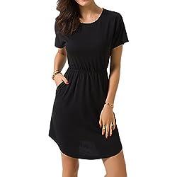 Zevrez Women's Short Sleeve Casual Tunic Elastic Waist with Pocket T-Shirt Dress