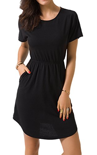 Zevrez Women's Short Sleeve Casual Tunic Elastic Waist with Pocket T-Shirt Dress(Black,L)