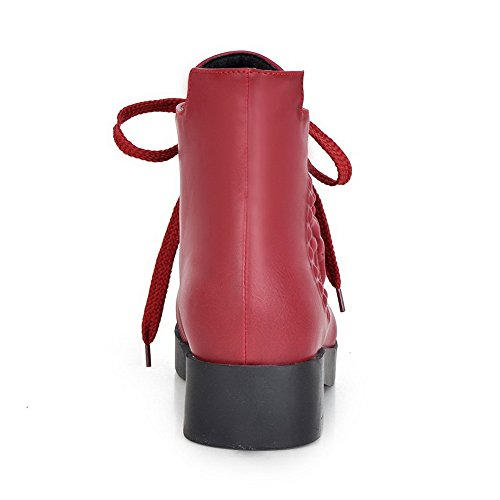 Leather Bandage Red Imitated Platform Boots AdeeSu Square Heels Girls F4qTz