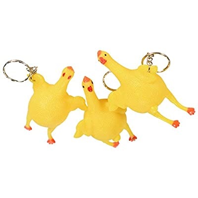 Squeeze Chicken Laying Egg Gag Keychain (3 Pack): Toys & Games