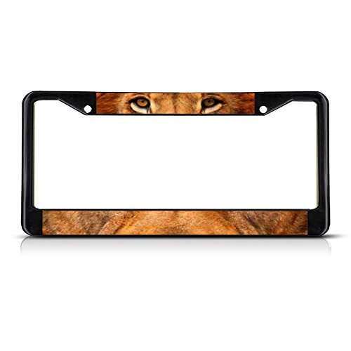 Cukudy Lion Animal Eyes Metal Black License Plate Frame Tag Holder