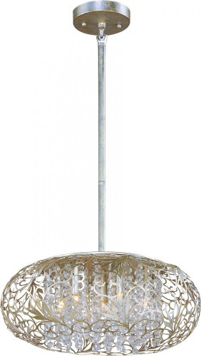 Maxim 24154BCGS Arabesque 7-Light Pendant, Golden Silver Finish, Beveled Crystal Glass, G9 Clear Xenon Xenon Bulb , 13W Max., Wet Safety Rating, 2700K Color Temp, Glass Shade Material, 900 Rated Lumens Maxim Lighting Silver Chandelier