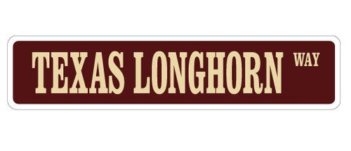 [SignJoker] TEXAS LONGHORN Street Sign cattle beef farmer farm novelty road Wall Plaque Decoration ()