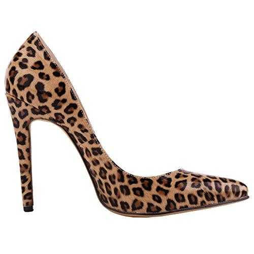 Scarpe Donna Loslandifen Scarpe Chiuse Scarpe Con I Tacchi Alti Da Donna A Punta Snella In Pelle Con Leopardo Al Neon