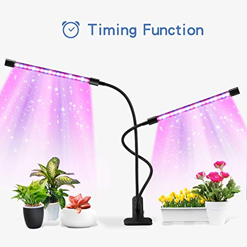 Grow Light, 36 LED Plant Lights for Indoor Plants with Timer in 3/6/12H, Red/Blue Spectrum, 5 Dimmable Levels, 3 Switch Modes,360 dgree Adjustable Gooseneck