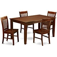 East West Furniture DUNO5-MAH-W 5-Piece Dining Table Set
