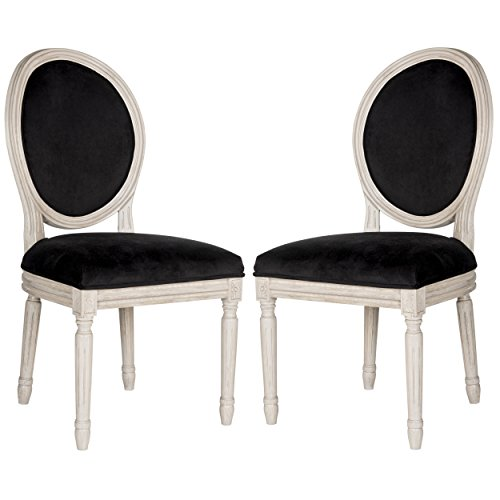 Safavieh Home Collection Holloway French Brasserie Black Velvet & Rustic Oak Grey Side Chair (Set of 2), 19