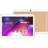 Startview 10.1 Tablet PC Mic WIFI Android 6.0 Octa Core 4+64G 10.1 Inch 2 SIM 4G HD Blutooth 4.0, Love Life and Enjoy The Game (Gold)