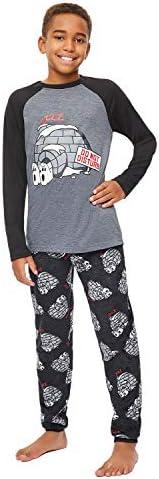 Jellifish Kids Boys 2 Piece Pajama Sleep Set, Cuffed Pant, Puff Print Long Sleeve Top