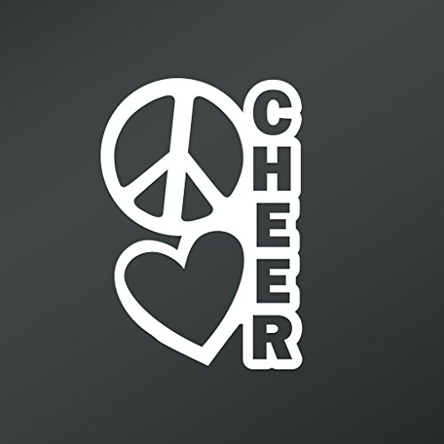 Team Themed Costume Ideas (Peace Love Cheer Vinyl Decal Sticker | Cars Trucks Vans Walls Laptops Cups | White | 6.5 X 4.5 Inch | KCD1664)