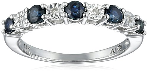 14k-White-Gold-Sapphire-and-Diamond-Ring-Size-7