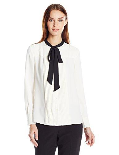 Anne Klein Women's Long Sleeve Bow Blouse, White, 2