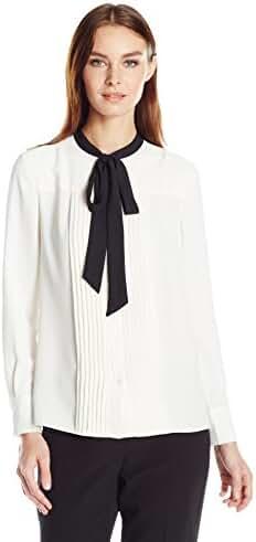 Anne Klein Women's Long Sleeve Bow Blouse