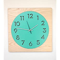 Round + Square Modern Wall Clock with Birch Frame and Laser Cut Face (Turquoise) by Uncommon Handmade