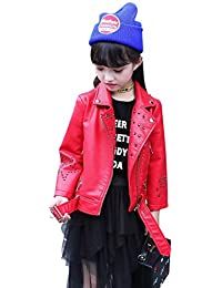 Girls Faux Leather Jacket Motorcycle Jacket For Kids Baby Leather Coat For Boys 3-12ys