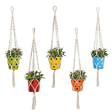 Trust Basket Round Dotted Pot With Contemporary Hanger Set Of 5